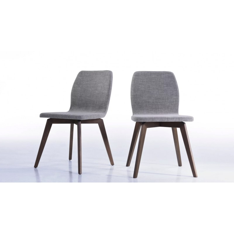 lot de 2 chaises contemporaines maguy en tissu gris clair. Black Bedroom Furniture Sets. Home Design Ideas