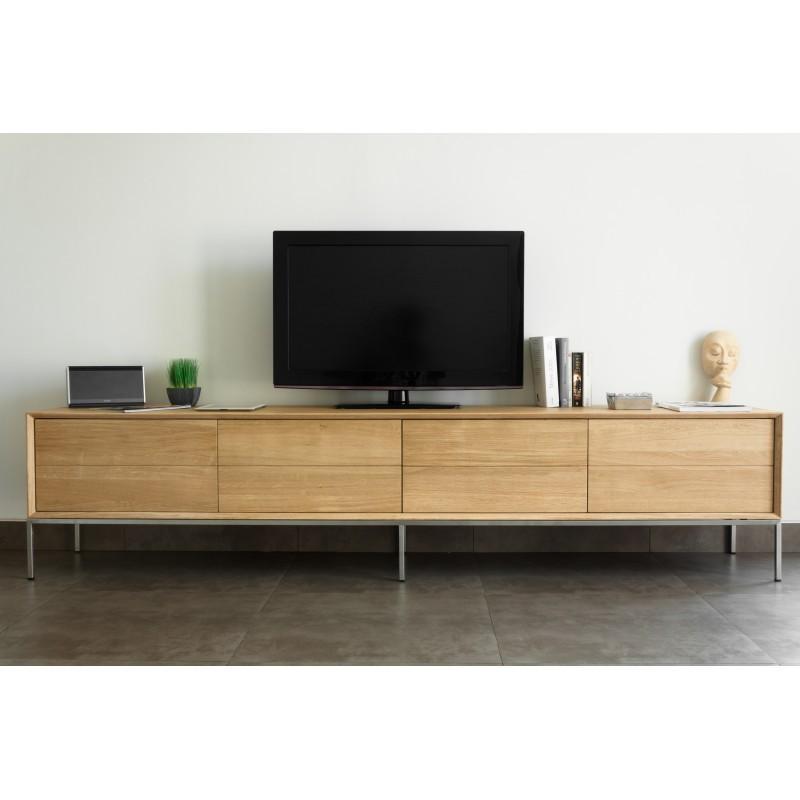 Meuble TV bas design 2 tiroirs 2 portes JASON en chêne massif (chêne naturel) - image 30443