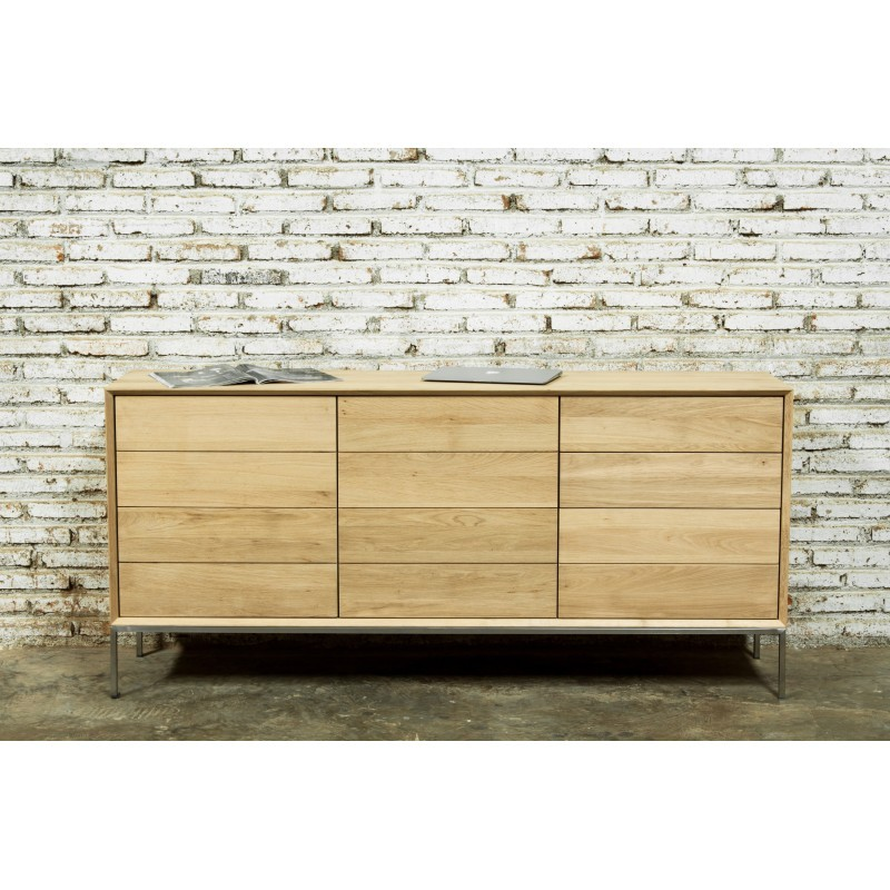 Buffet enfilade bas design 2 portes 3 tiroirs JASON en chêne massif (chêne naturel) - image 30480