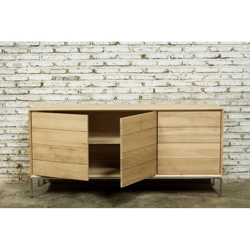 Buffet enfilade bas design 2 portes 3 tiroirs JASON en chêne massif (chêne naturel) - image 30482