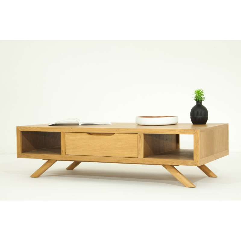 table basse r tro scandinave aaron en teck massif naturel. Black Bedroom Furniture Sets. Home Design Ideas