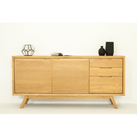 Retro Scandinavian buffet 2 doors 3 drawers AARON (natural) massive teak