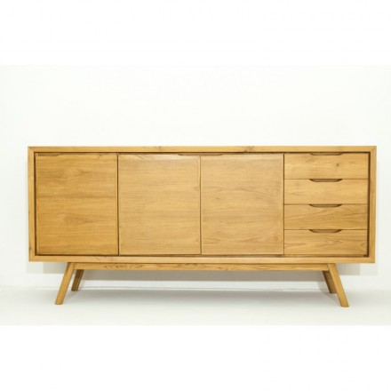 Retro Scandinavian buffet 3 doors 4 drawers AARON (natural) massive teak