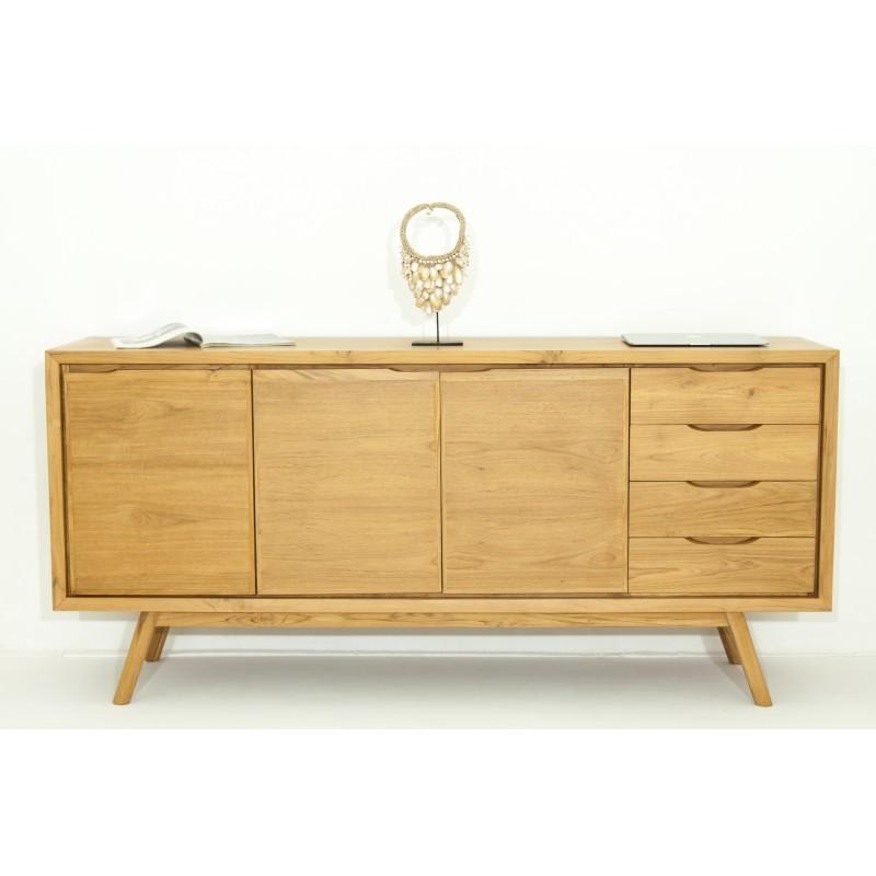 buffet r tro scandinave 3 portes 4 tiroirs aaron en teck massif naturel. Black Bedroom Furniture Sets. Home Design Ideas