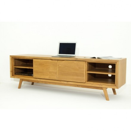 Meuble tv r tro scandinave 2 portes 4 niches aaron en teck massif naturel - Meuble tv vintage scandinave ...