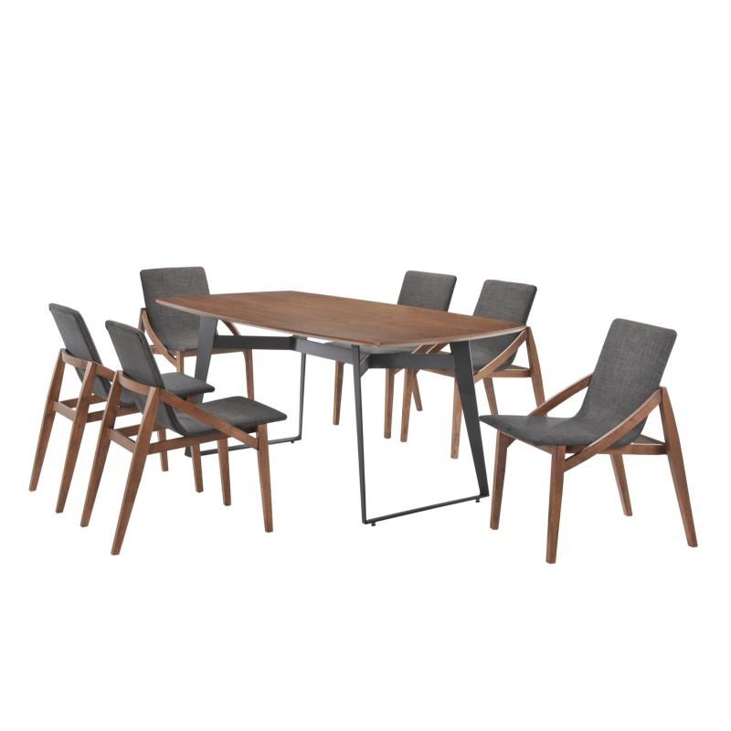 Table à manger contemporaine et vintage MAEL en bois et métal (200cmX90cmX77,5cm) (noyer, noir) - image 30534