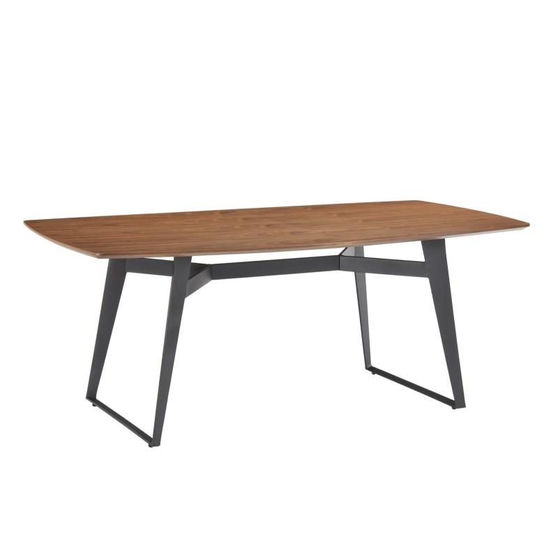 Table à manger contemporaine et vintage MAEL en bois et métal (200cmX90cmX77,5cm) (noyer, noir)