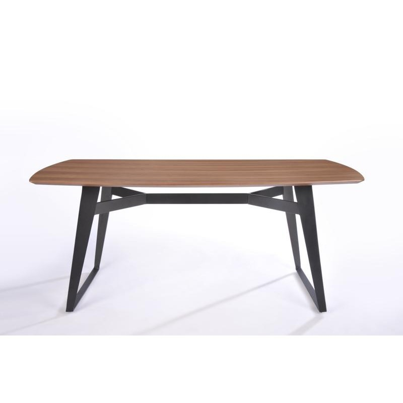 Table à manger contemporaine et vintage MAEL en bois et métal (200cmX90cmX77,5cm) (noyer, noir) - image 30537