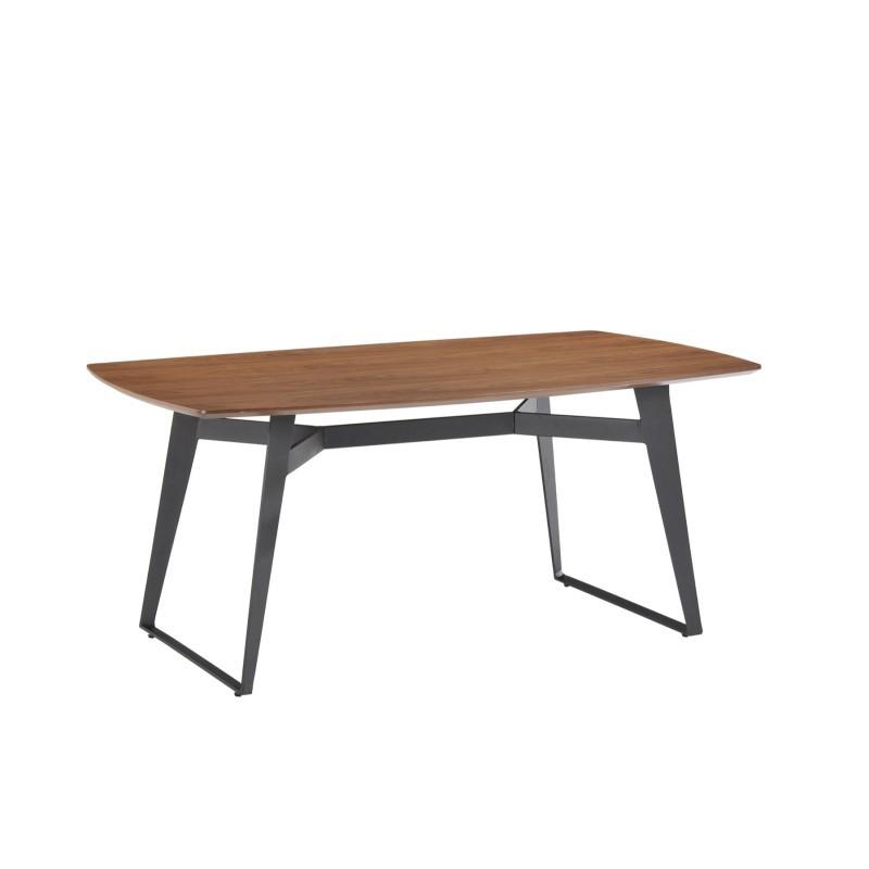 Table à manger contemporaine et vintage MAEL en bois et métal (180cmX90cmX77,5cm) (noyer, noir) - image 30540