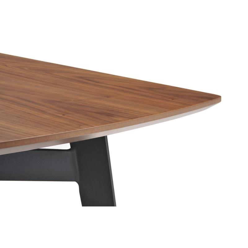 Table à manger contemporaine et vintage MAEL en bois et métal (180cmX90cmX77,5cm) (noyer, noir) - image 30541