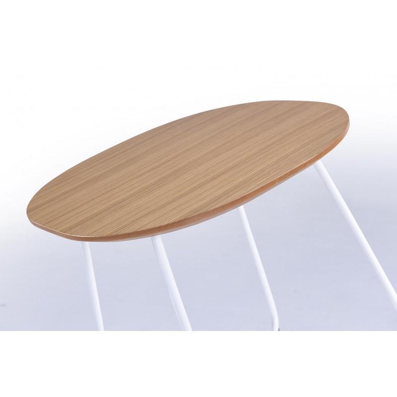 Fine tabella, tabella di fine design ARGAN in legno e metallo (rovere naturale) - image 30568