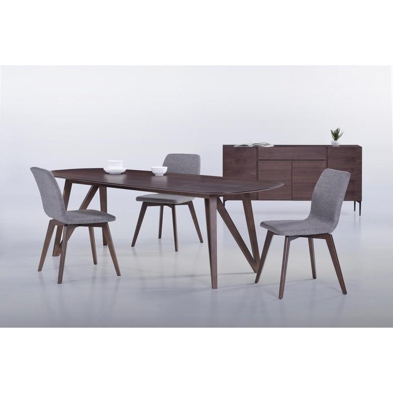 Table à manger contemporaine et vintage MAELYS en bois (240cmX100xcmX75cm) (noyer) - image 30569