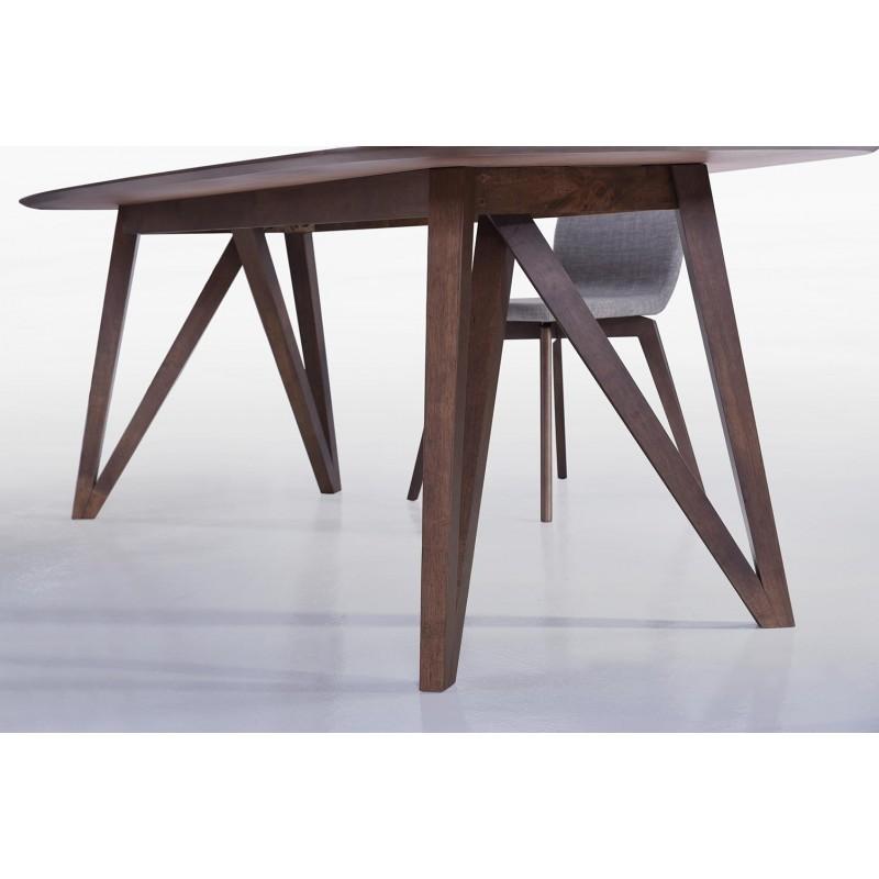 Table à manger contemporaine et vintage MAELYS en bois (240cmX100xcmX75cm) (noyer) - image 30574