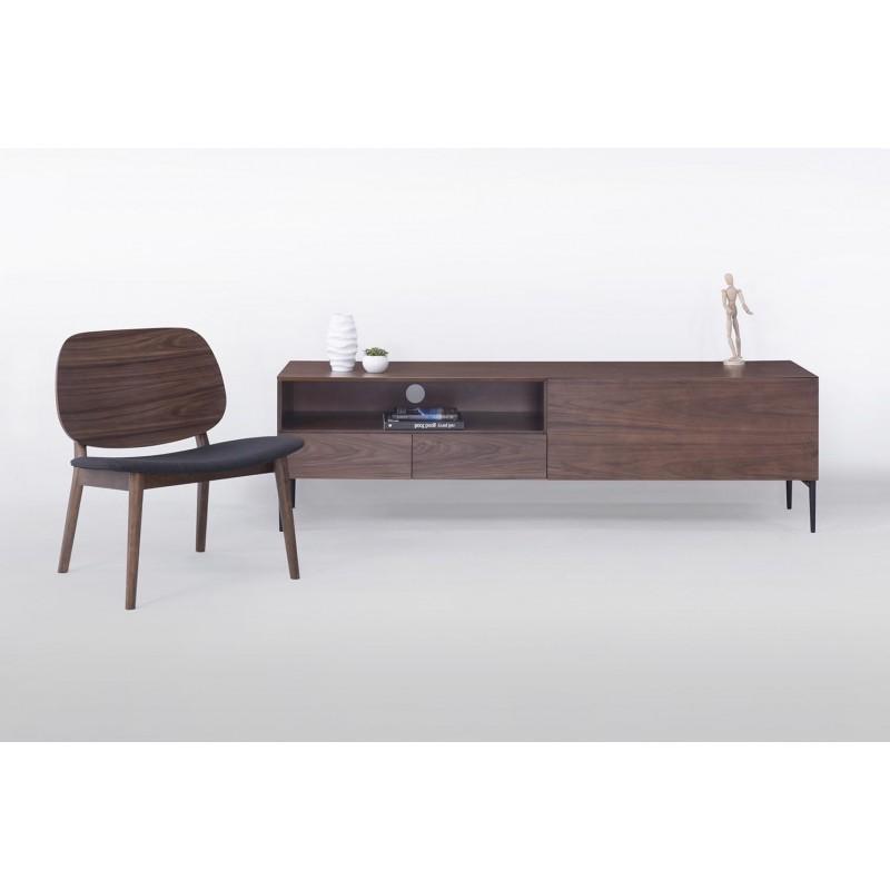 Meuble TV bas 1 niche, 2 tiroirs, 1 porte contemporain et vintage CORREZE en bois (noyer) - image 30587
