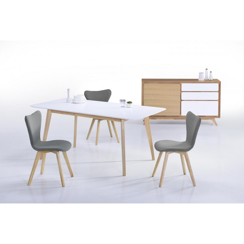 Table manger extensible scandinave enora en bois blanc for Table a manger bois blanc