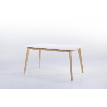Table expandable Scandinavian ENORA (white) wood (150/180cmX90cmX76cm)