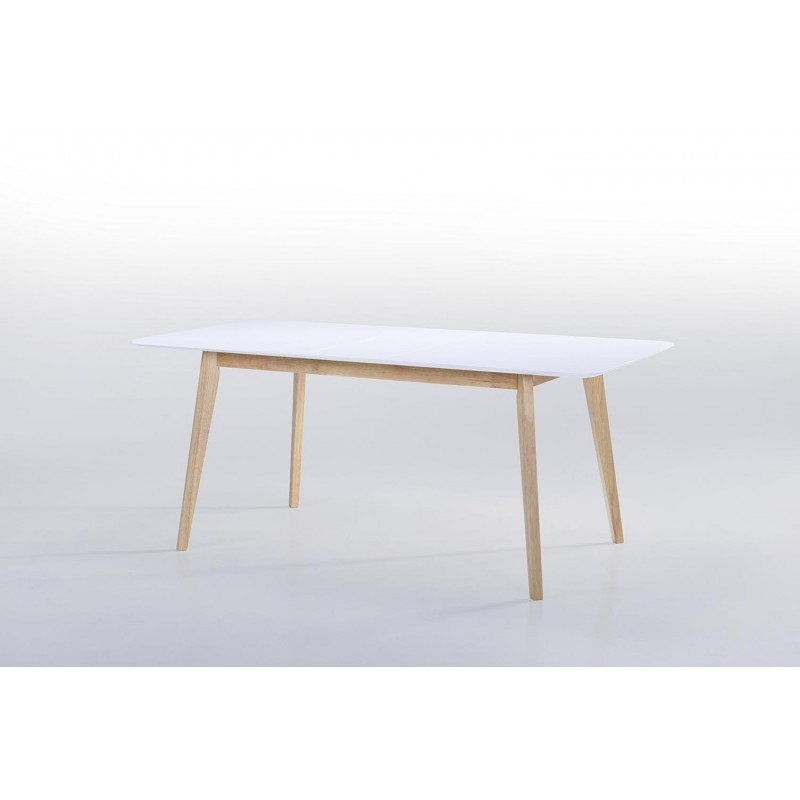 Table manger extensible scandinave enora en bois blanc for Table extensible blanc et bois