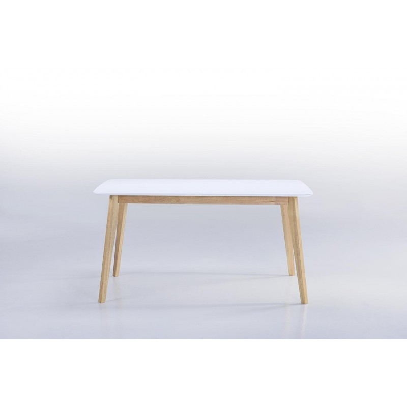 table manger extensible scandinave enora en bois blanc 150 180cmx90cmx76cm. Black Bedroom Furniture Sets. Home Design Ideas