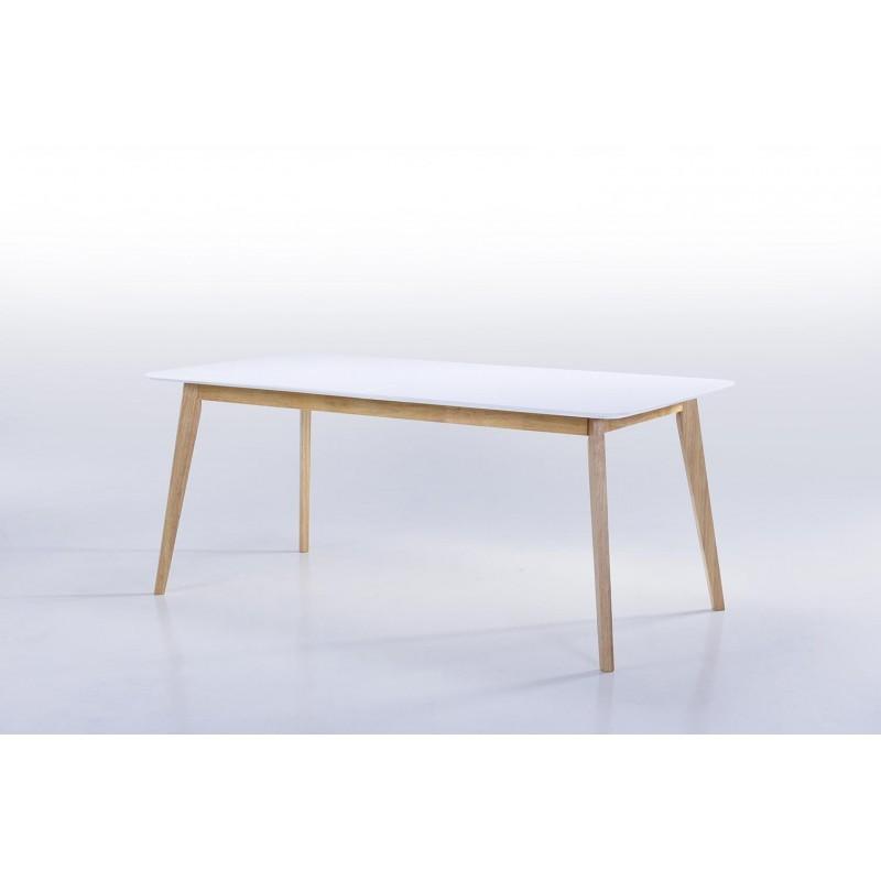 Table à manger extensible scandinave EVY en bois (180/224cmX90cmX76cm) (blanc) - image 30605