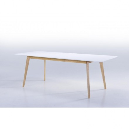 Dining Scandinavian EVY (180/224cmX90cmX76cm ((white) wooden extensible table