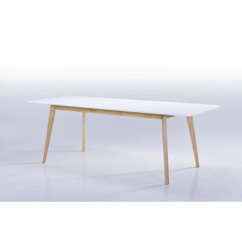 Table à manger extensible scandinave EVY en bois (180/224cmX90cmX76cm) (blanc) - image 30606