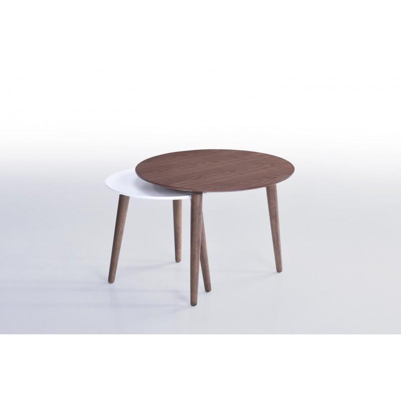 Tables basses gigognes ELIAZ en bois (noyer, blanc mat) - image 30628