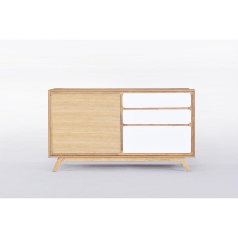 Buffet enfilade 1 porte 3 tiroirs scandinave GAUD en bois (chêne naturel, blanc mat) - image 30633