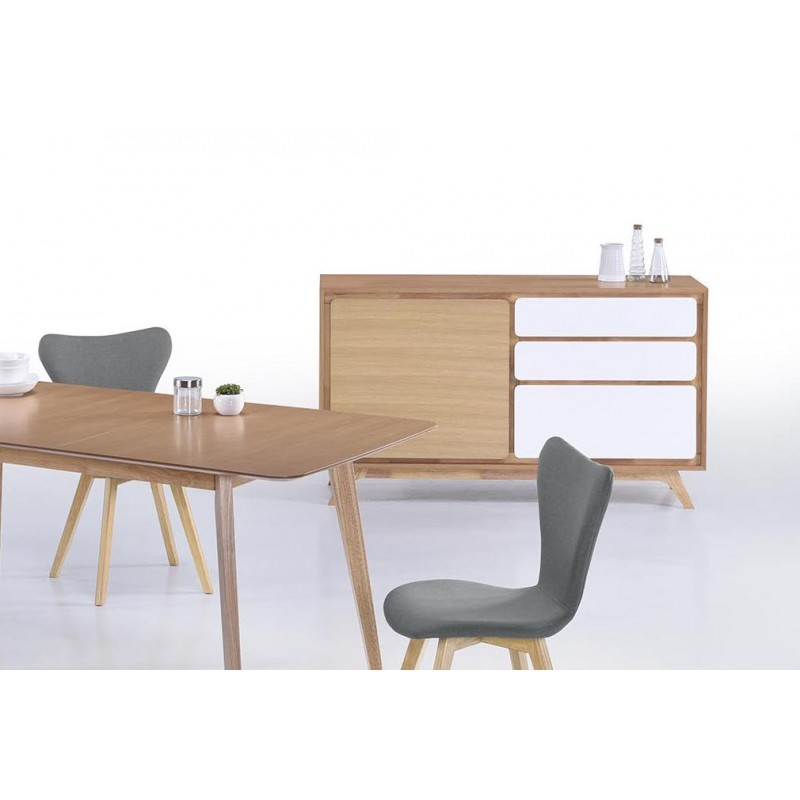 Buffet enfilade 1 porte 3 tiroirs scandinave GAUD en bois (chêne naturel, blanc mat) - image 30636