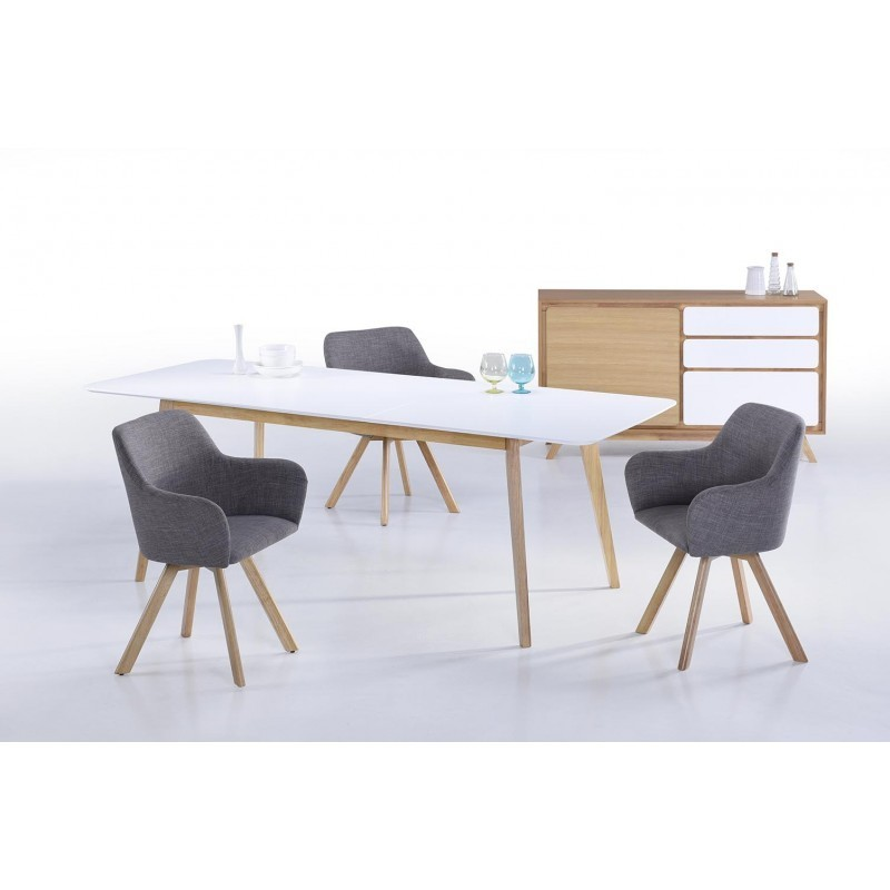 Buffet enfilade 1 porte 3 tiroirs scandinave GAUD en bois (chêne naturel, blanc mat) - image 30675