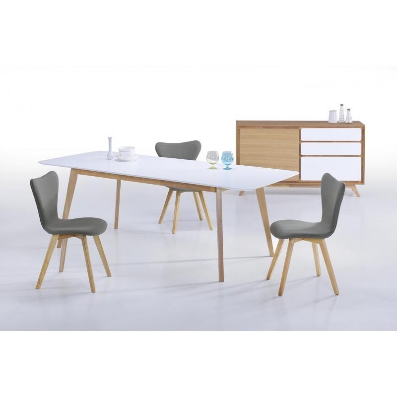 Buffet enfilade 1 porte 3 tiroirs scandinave GAUD en bois (chêne naturel, blanc mat) - image 30676