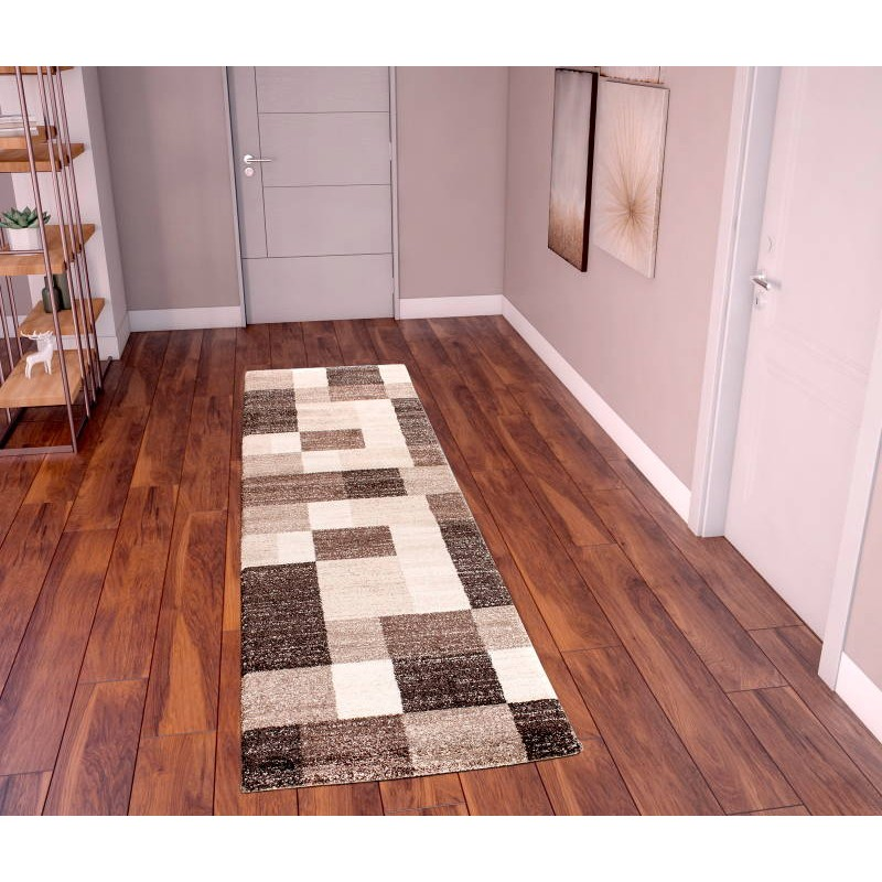 tapis de couloir moderne 80x300 cm modern fashion gabeh brun fonce beige clair. Black Bedroom Furniture Sets. Home Design Ideas