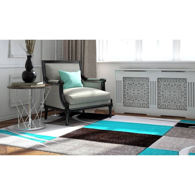tapis de salon moderne et fris 200x280 cm modern frise superverso gris turquoise. Black Bedroom Furniture Sets. Home Design Ideas