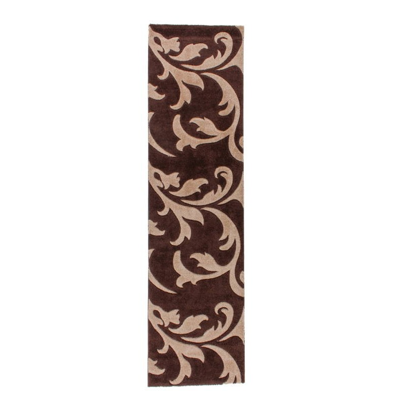 tapis de couloir moderne et fris 80x300 cm modern frise superverso lys brun fonce beige. Black Bedroom Furniture Sets. Home Design Ideas