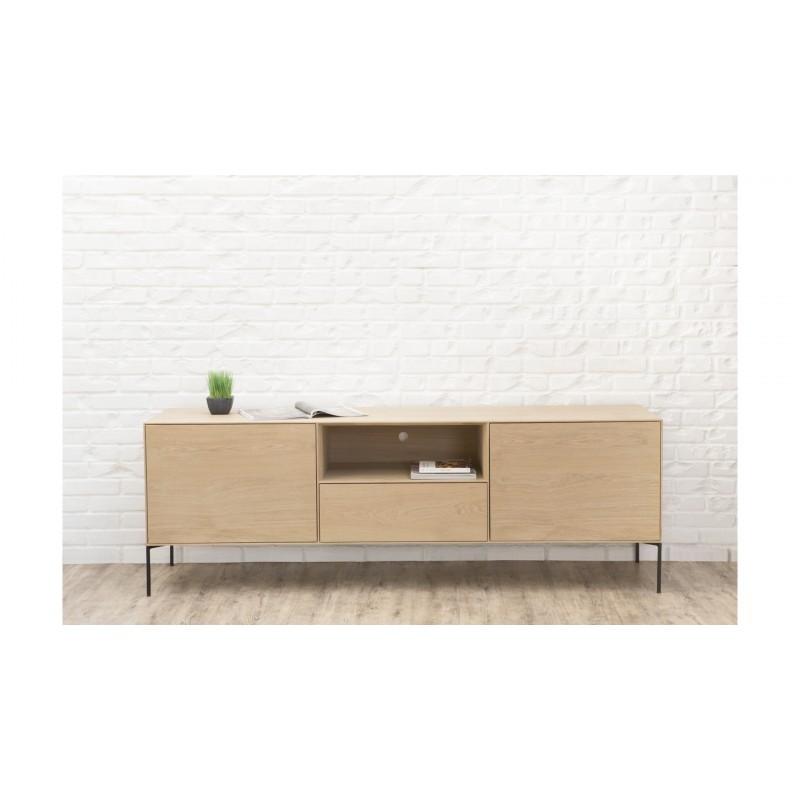 Mueble TV 2 puertas, 1 cajón, 1 nicho diseño BRIEG en 100% madera maciza de roble (roble natural cruda)