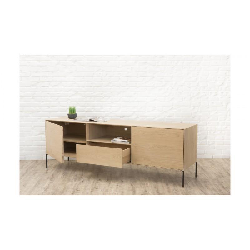 Mueble TV 2 puertas, 1 cajón, 1 nicho diseño BRIEG en 100% madera maciza de roble (roble natural cruda) - image 36030