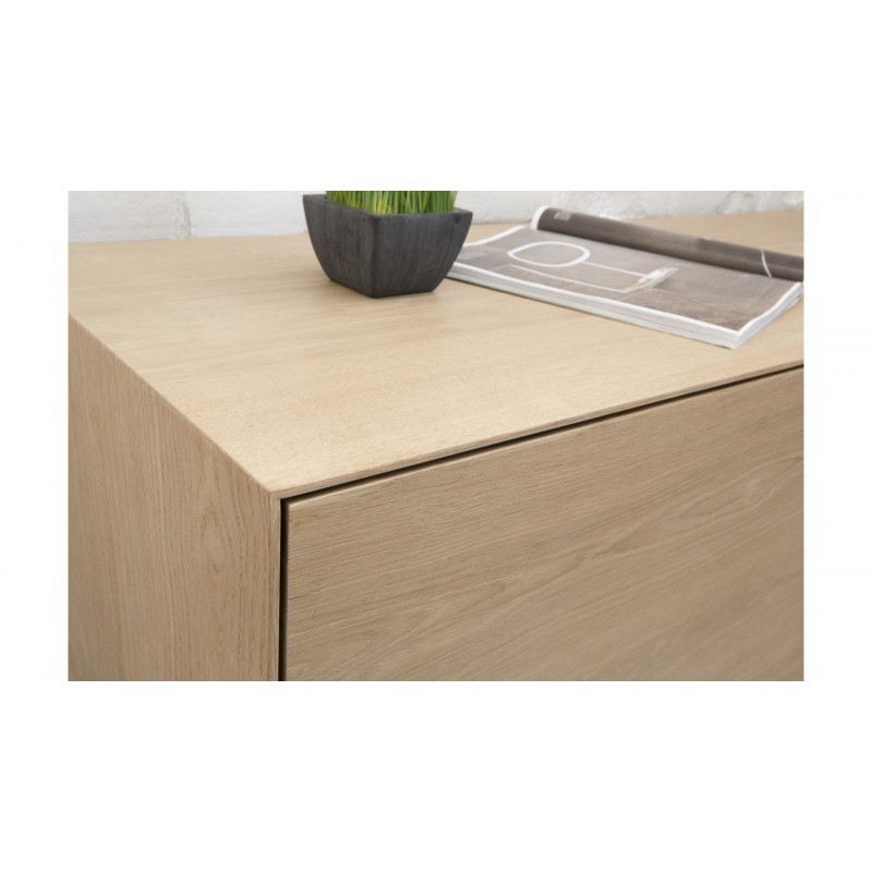 Mueble TV 2 puertas, 1 cajón, 1 nicho diseño BRIEG en 100% madera maciza de roble (roble natural cruda) - image 36031