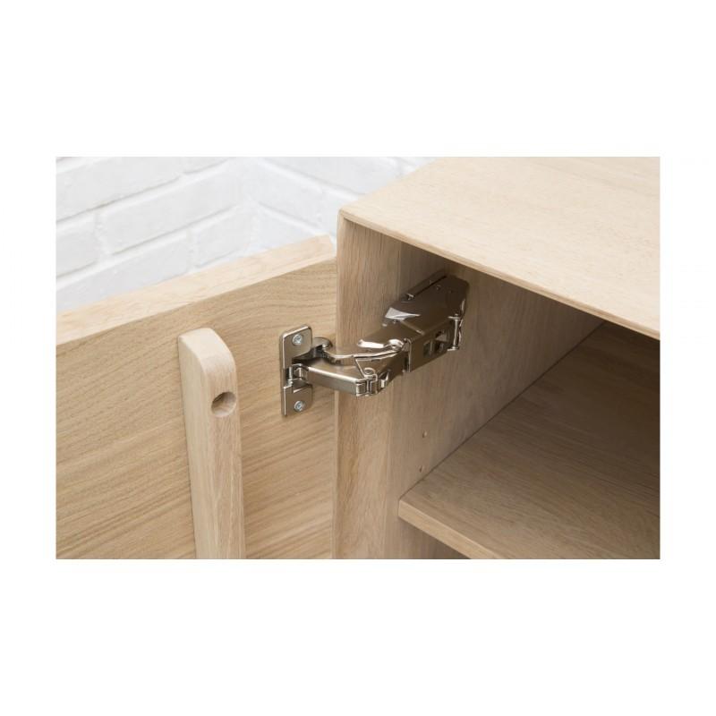 Mueble TV 2 puertas, 1 cajón, 1 nicho diseño BRIEG en 100% madera maciza de roble (roble natural cruda) - image 36032