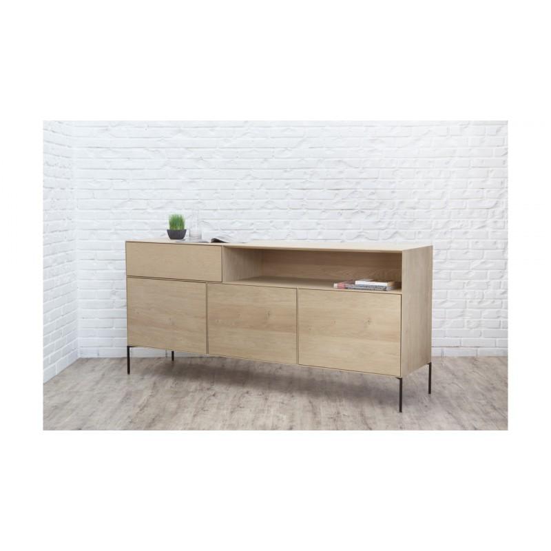 Buffet 3 portes, 1 tiroir, 1 niche design BRIEG en chêne massif 100% (Chêne brut naturel) - image 36035