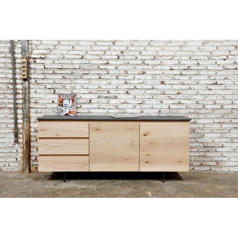 Buffet enfilade bas design 2 portes 3 tiroirs ADRIA en chêne massif (chêne naturel) - image 36051