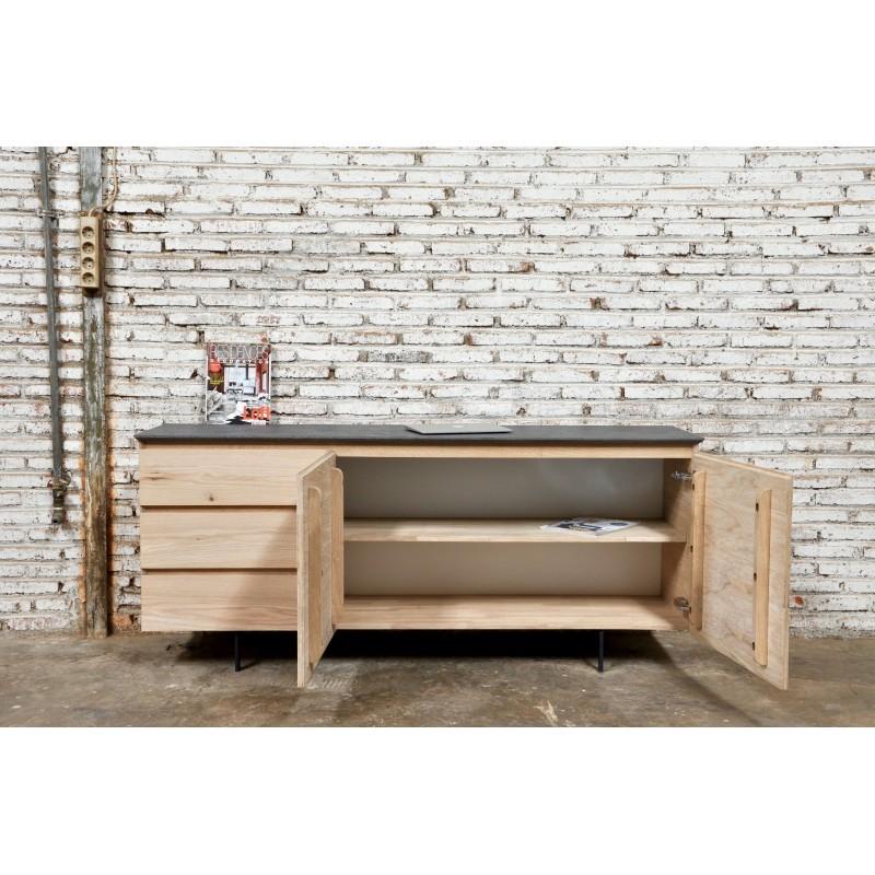 Buffet enfilade bas design 2 portes 3 tiroirs ADRIA en chêne massif (chêne naturel) - image 36053