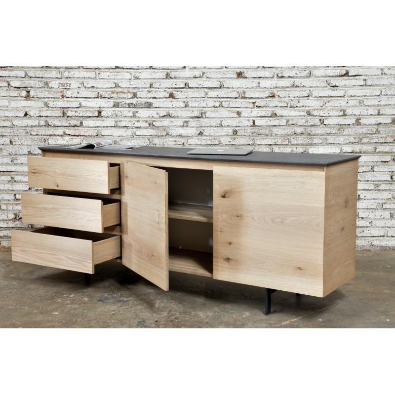 Buffet enfilade bas design 2 portes 3 tiroirs ADRIA en chêne massif (chêne naturel) - image 36056