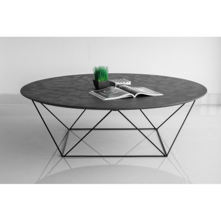 Coffee table round industrial TANIA mineral coating (black)