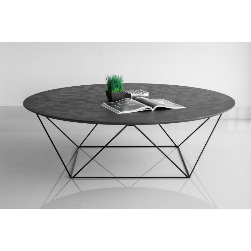 Table Basse Ronde Industrielle Tania En Revetement Mineral Noir