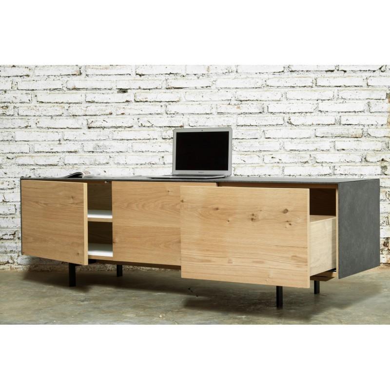 meuble tv bas contemporain 2 portes 1 tiroir bouba en ch ne massif et rev tement min ral ch ne. Black Bedroom Furniture Sets. Home Design Ideas