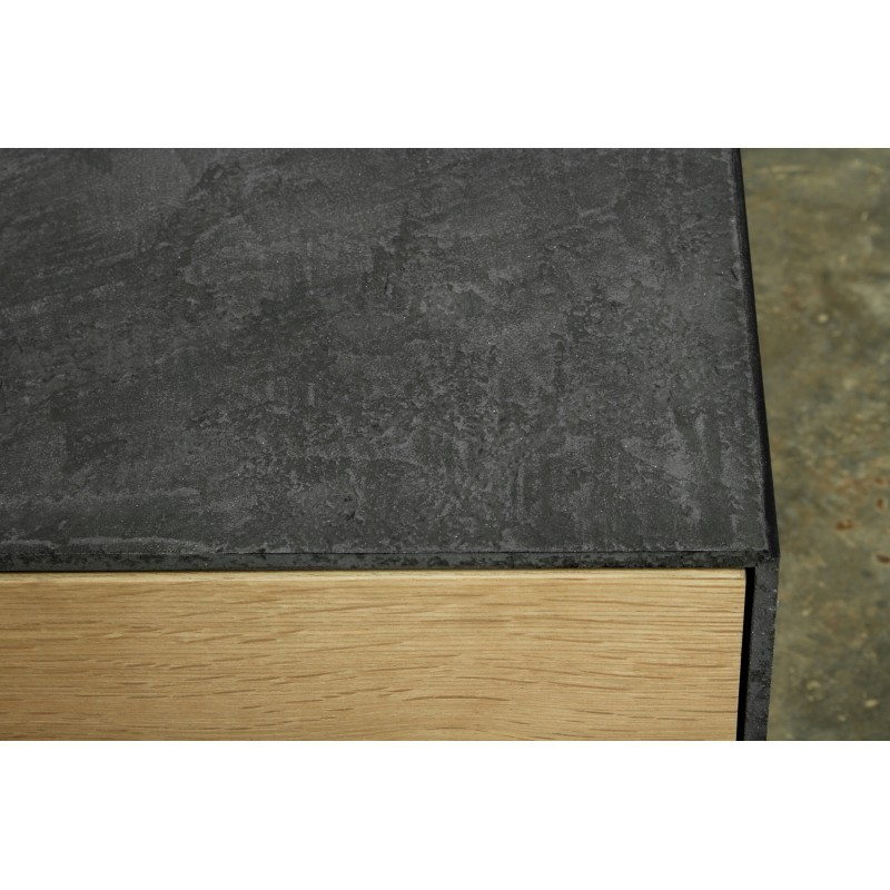 Meuble TV bas contemporain 2 portes 1 tiroir BOUBA en chêne massif et revêtement minéral (chêne naturel, noir) - image 36101