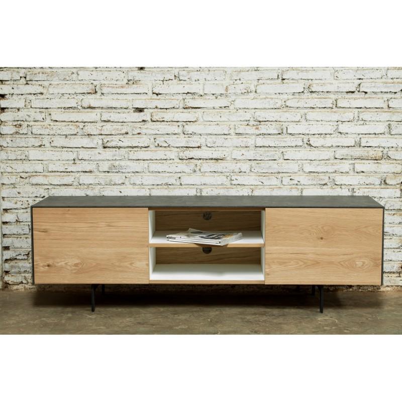 Meuble TV bas contemporain 1 porte 1 tiroir 2 niches BOUBA en chêne massif et revêtement minéral (chêne naturel, noir) - image 36103