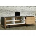 Möblierte moderne niedrige TV 1 Tür 1 Schublade 2 Nischen BOUBA in massivem Eichenholz (Eiche Natur, schwarz)