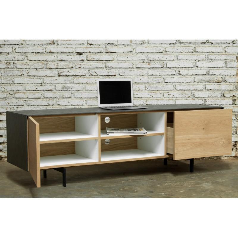 Meuble TV bas contemporain 1 porte 1 tiroir 2 niches BOUBA en chêne massif et revêtement minéral (chêne naturel, noir) - image 36104