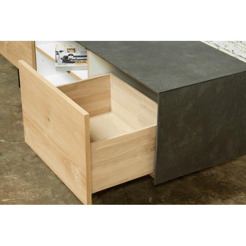 Meuble TV bas contemporain 1 porte 1 tiroir 2 niches BOUBA en chêne massif et revêtement minéral (chêne naturel, noir) - image 36108