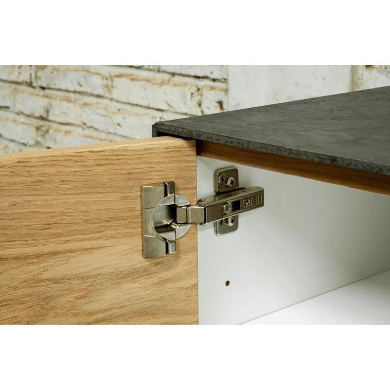 Meuble TV bas contemporain 1 porte 1 tiroir 2 niches BOUBA en chêne massif et revêtement minéral (chêne naturel, noir) - image 36111